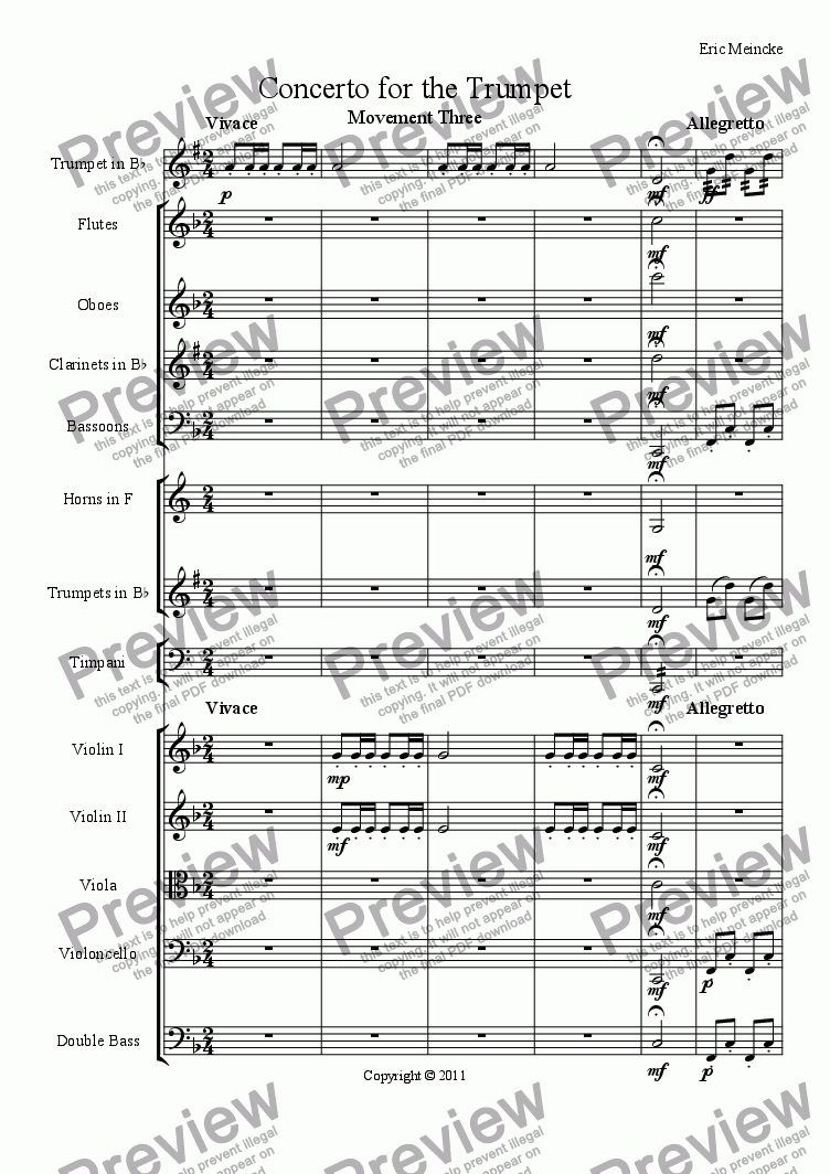 page one of Concerto for the Trumpet, Movement III