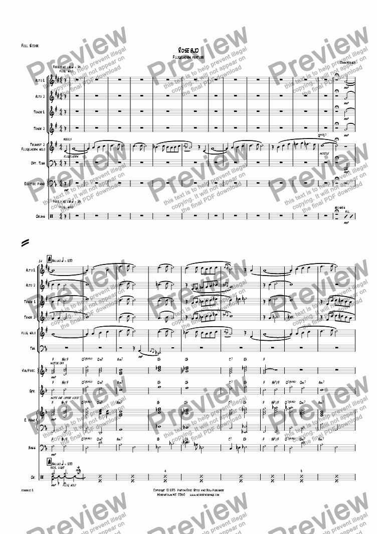 page one of Rosebud- Flugelhorn solo and big band