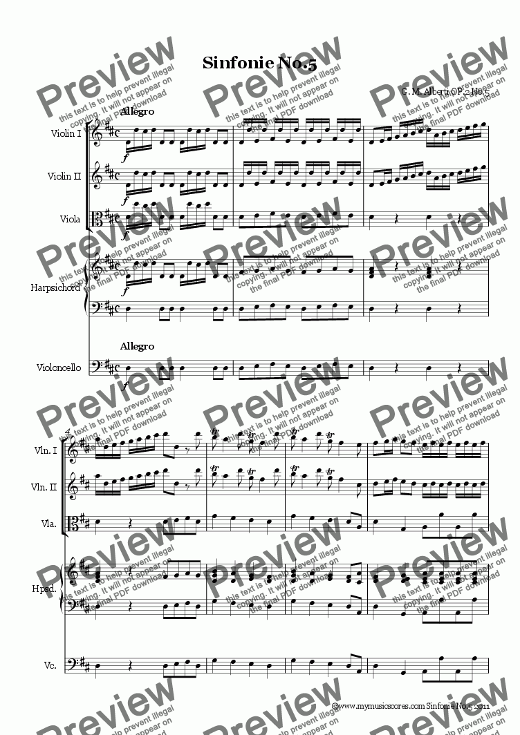 page one of Alberti Sinfonie Op.2 No.5
