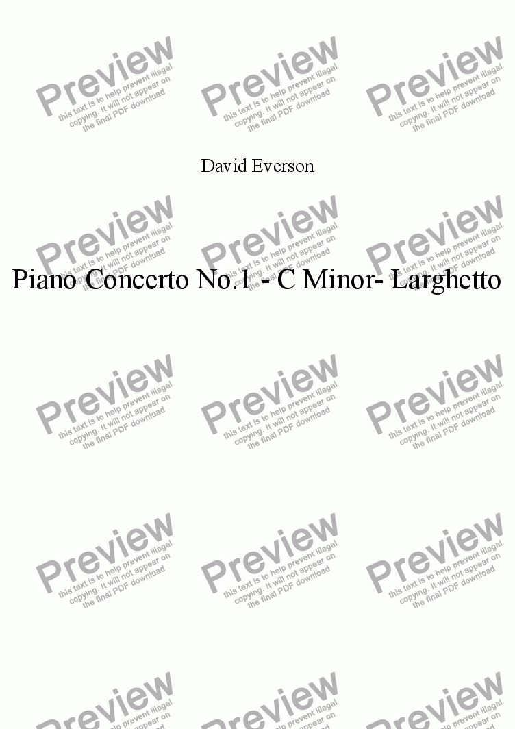 page one of Piano Concerto No.1 - C Minor- Movement 1