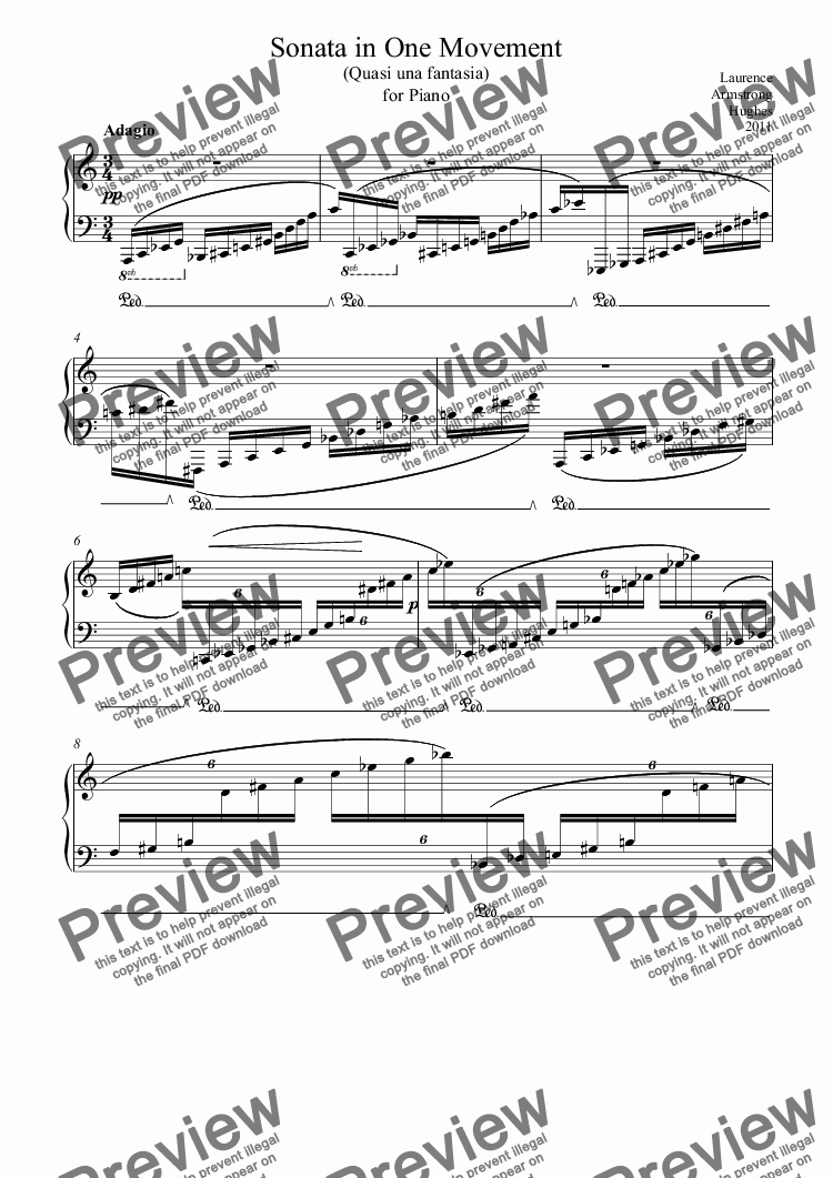 page one of Sonata in One Movement