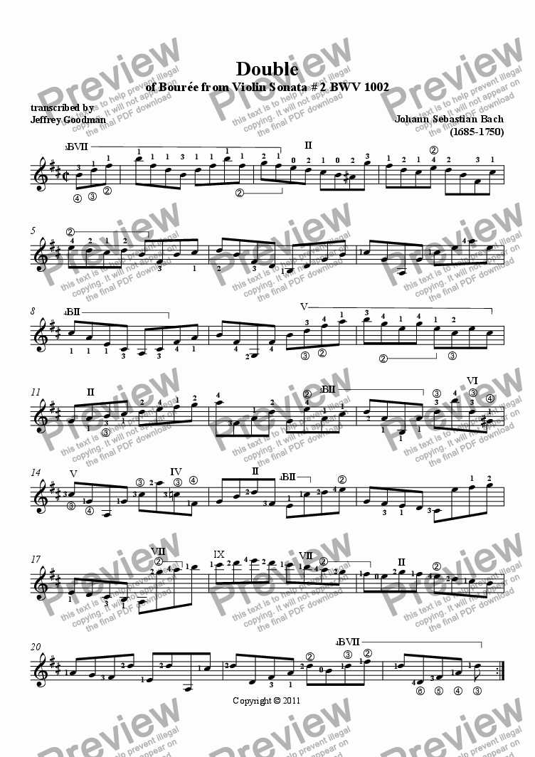 page one of Bach Double of Bourrée in Bm from Violin Sonata # 2