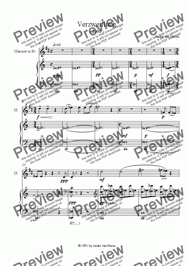 page one of Verzweiflung - clarinet and piano