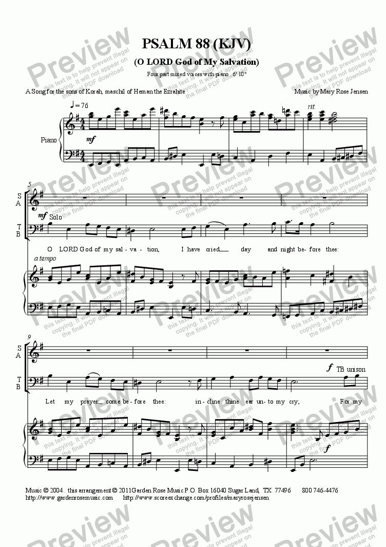 page one of Psalm 88 (KJV) (SATB + piano) Choral Anthem