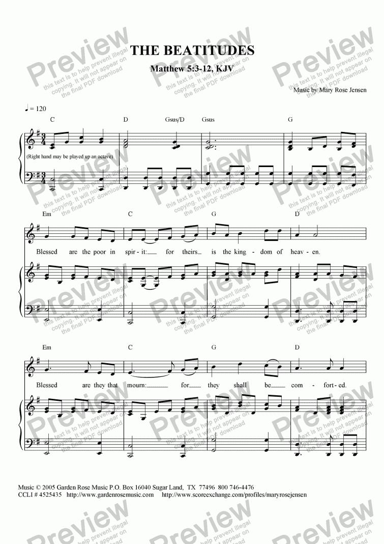 The Beatitudes Matthew 53 12 KJV Sheet Music PDF file – Beatitudes Worksheet
