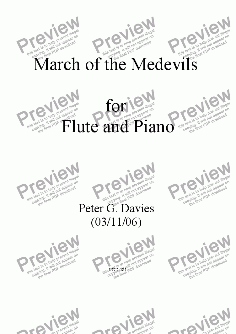 page one of March of the Medevils for Flute and Piano