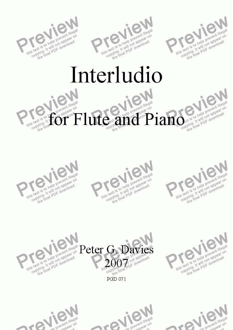 page one of Interludio for Flute and Piano