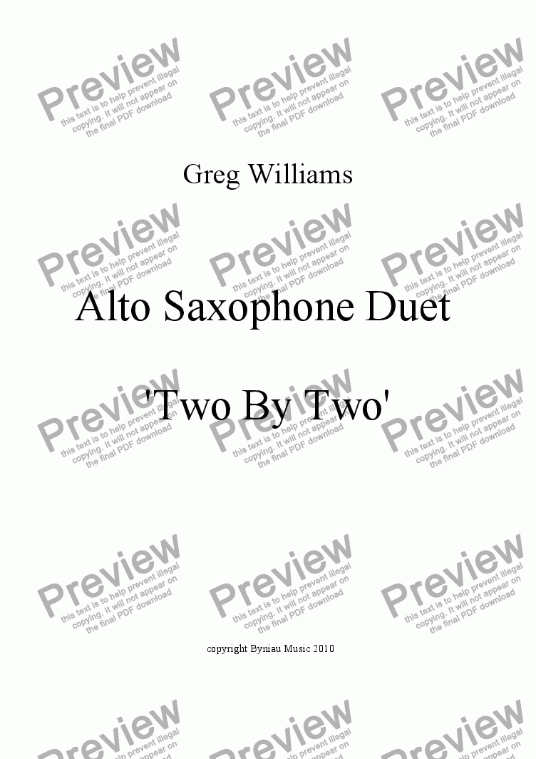 page one of Alto Sax Duet - Two By Two