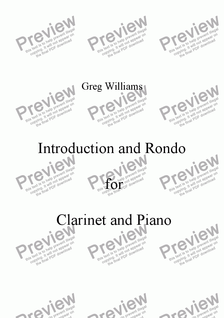 page one of Introduction and Rondo for Clarinet and Piano