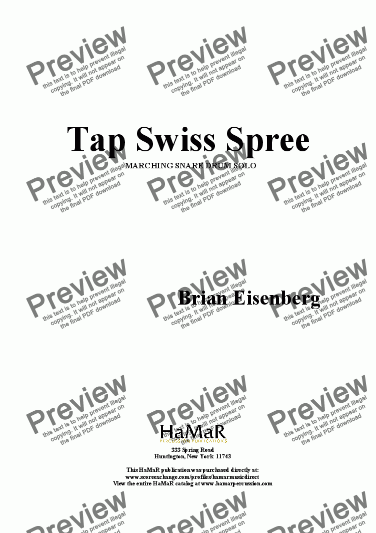 page one of Tap Swiss Spree