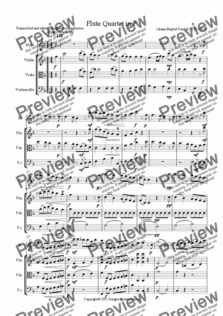 page one of Vanhal, Johann Baptist: Flute Quartet in F (fl, vln, vla, cello)