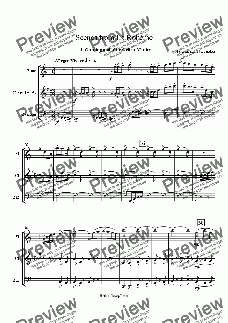 page one of Scenes from La Bohéme for WW Trio