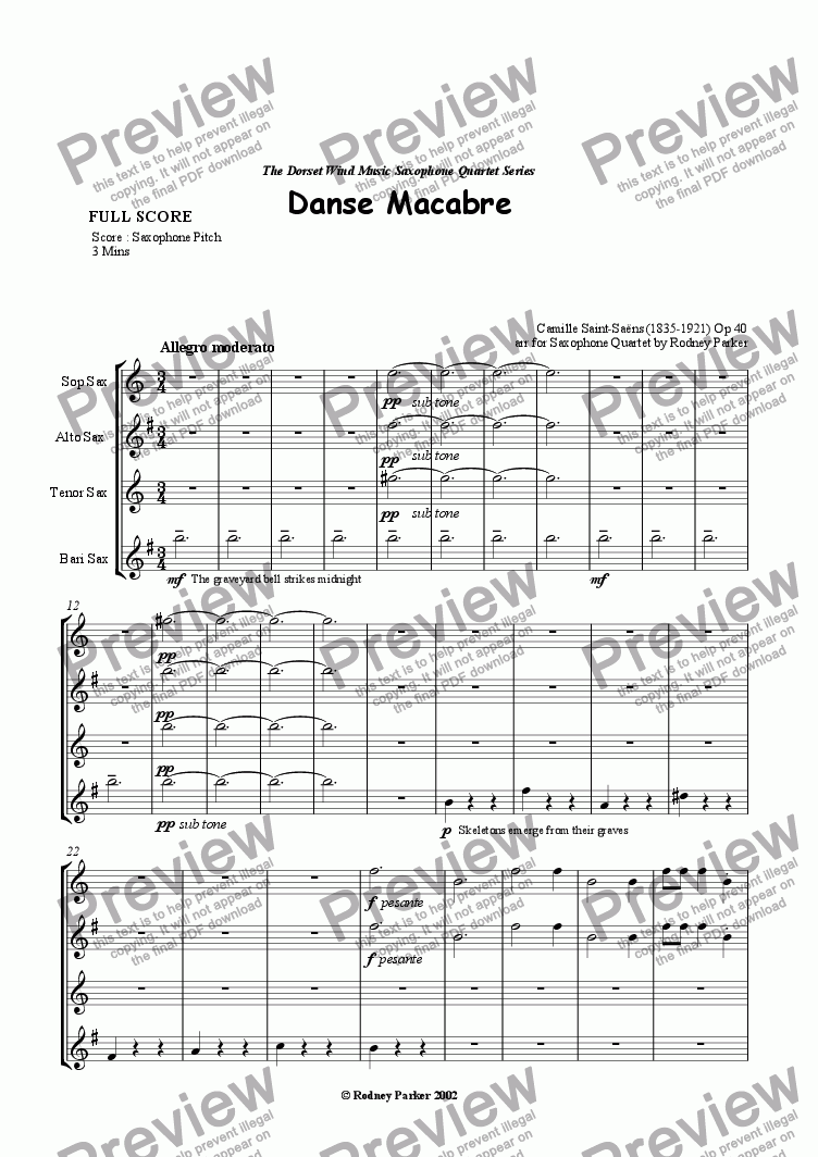 page one of Danse Macabre arr for Sax Quartet