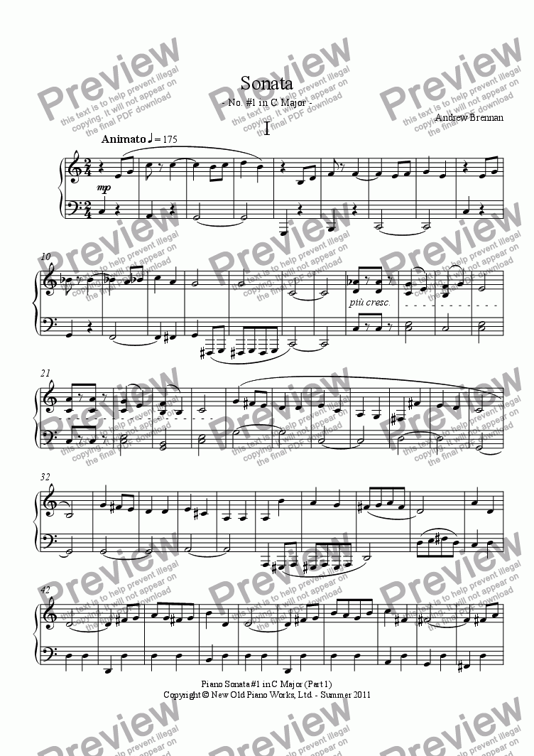 page one of Sonata #1 in C Major - Part 1ASALTTEXT