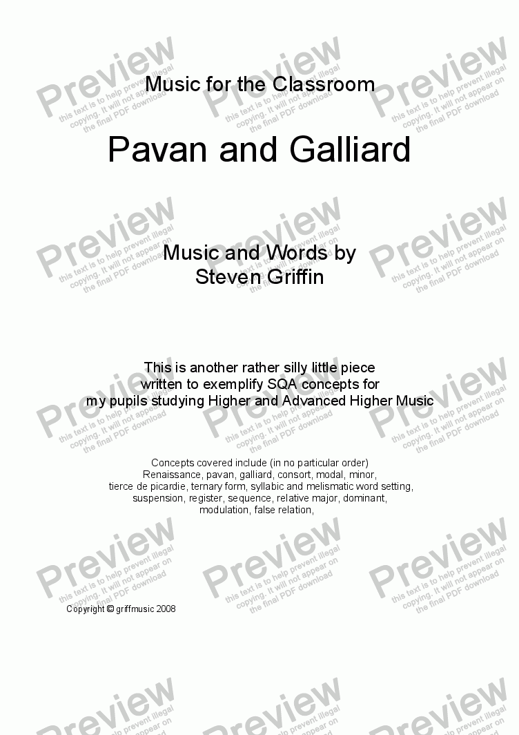 page one of Pavane and Galliard