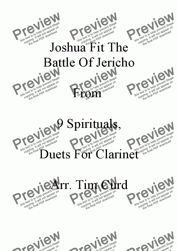 page one of Joshua Fit The Battle Of Jericho. Clarinet Duet