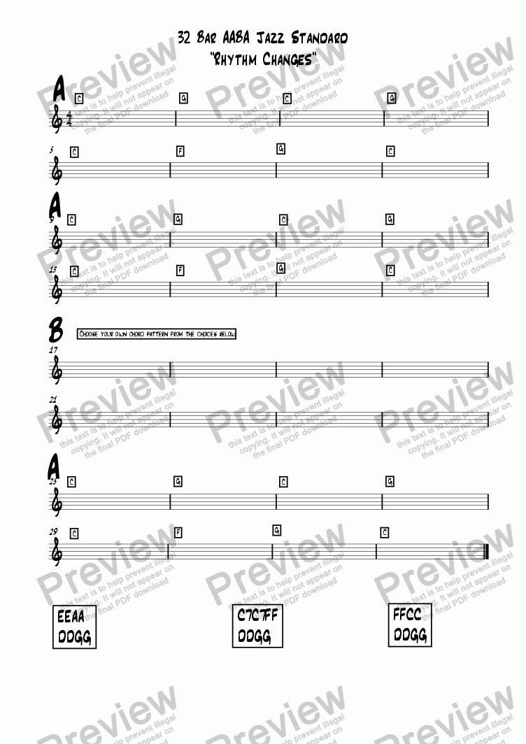 "page one of 32 Bar AABA Jazz Standard ""Rhythm Changes"""
