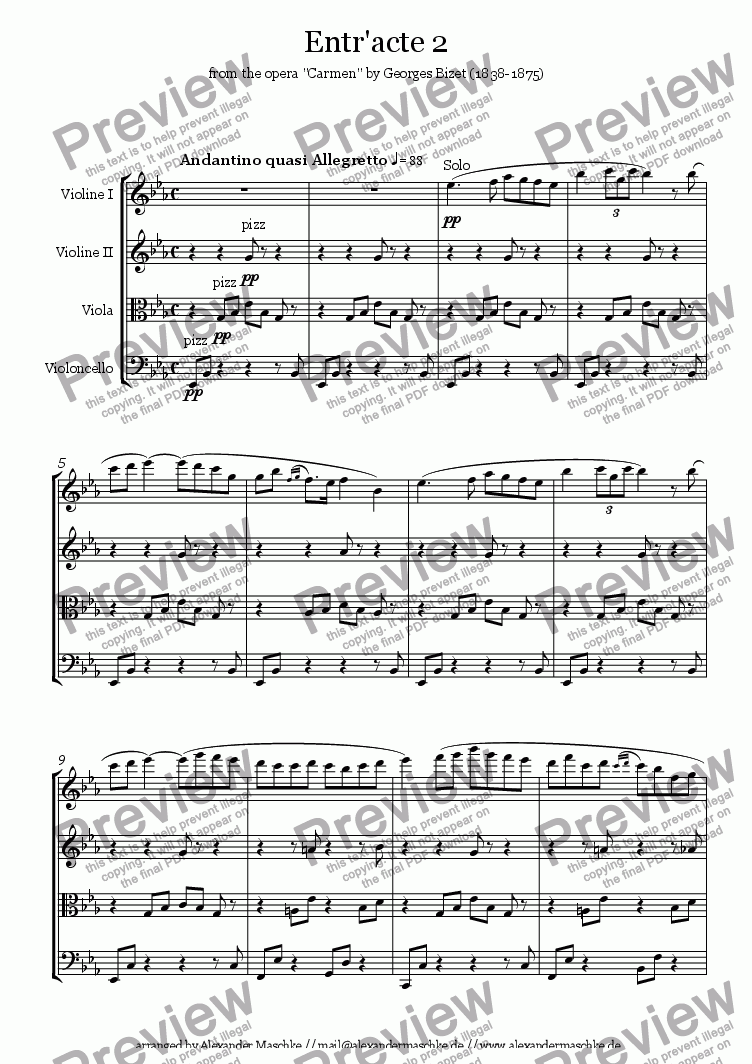 page one of Entr'acte 2 from Carmen