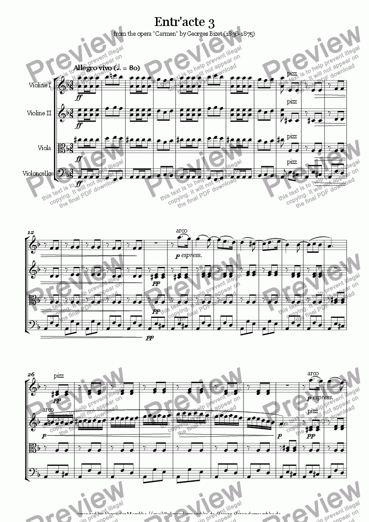 page one of Entr'acte 3 from Carmen