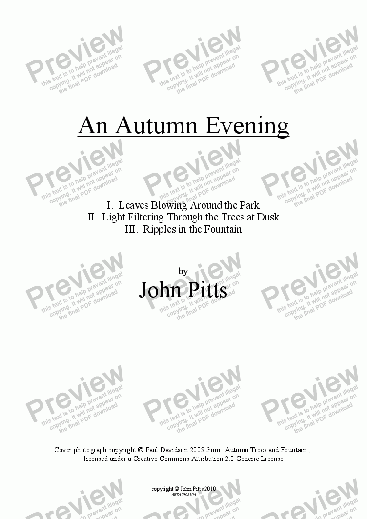 page one of An Autumn Evening