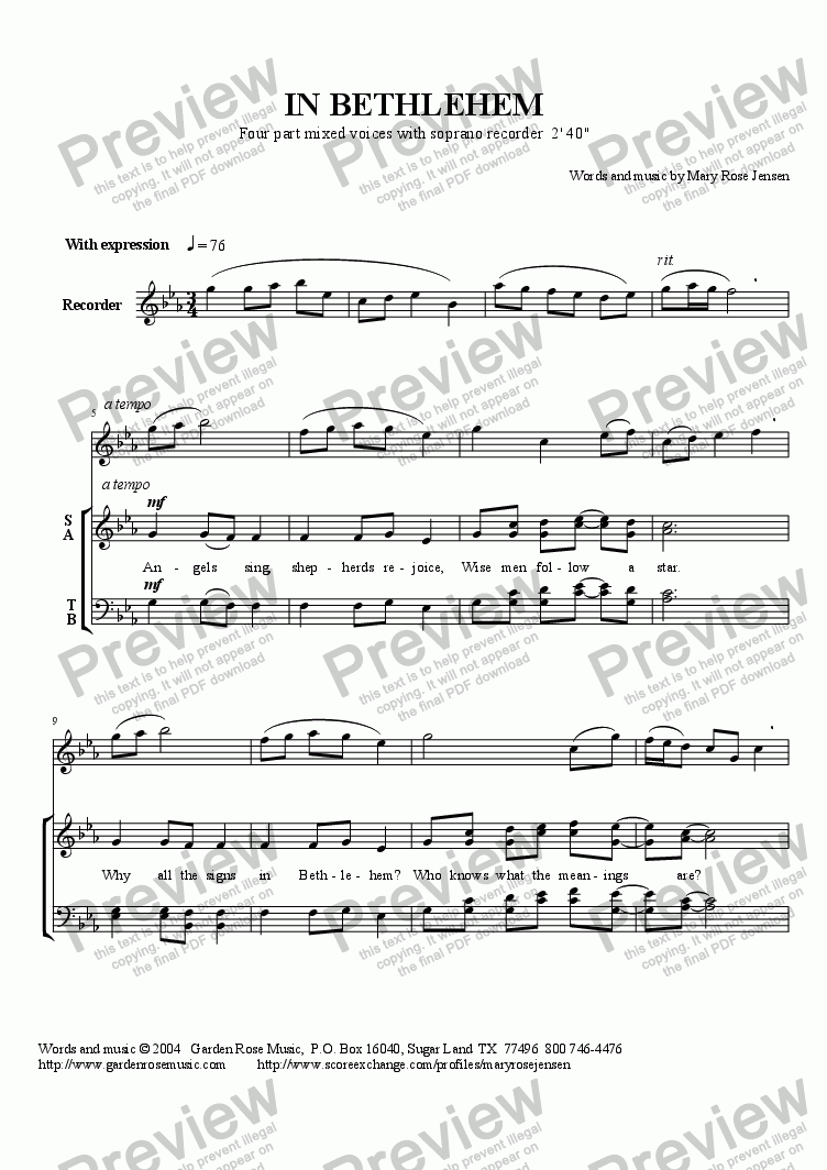 page one of In Bethlehem (SATB + Recorder) Christmas choral anthem ASALTTEXT