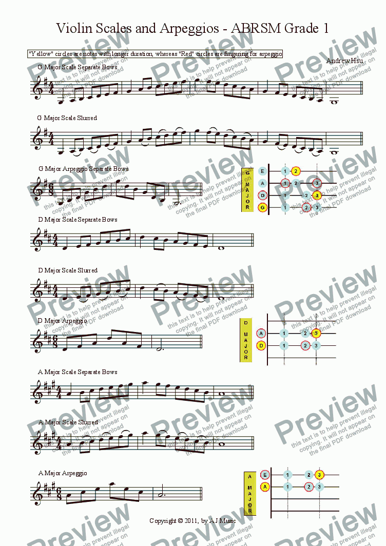 Violin Scales And Arpeggios Grade 1 Download Sheet Music Pdf File