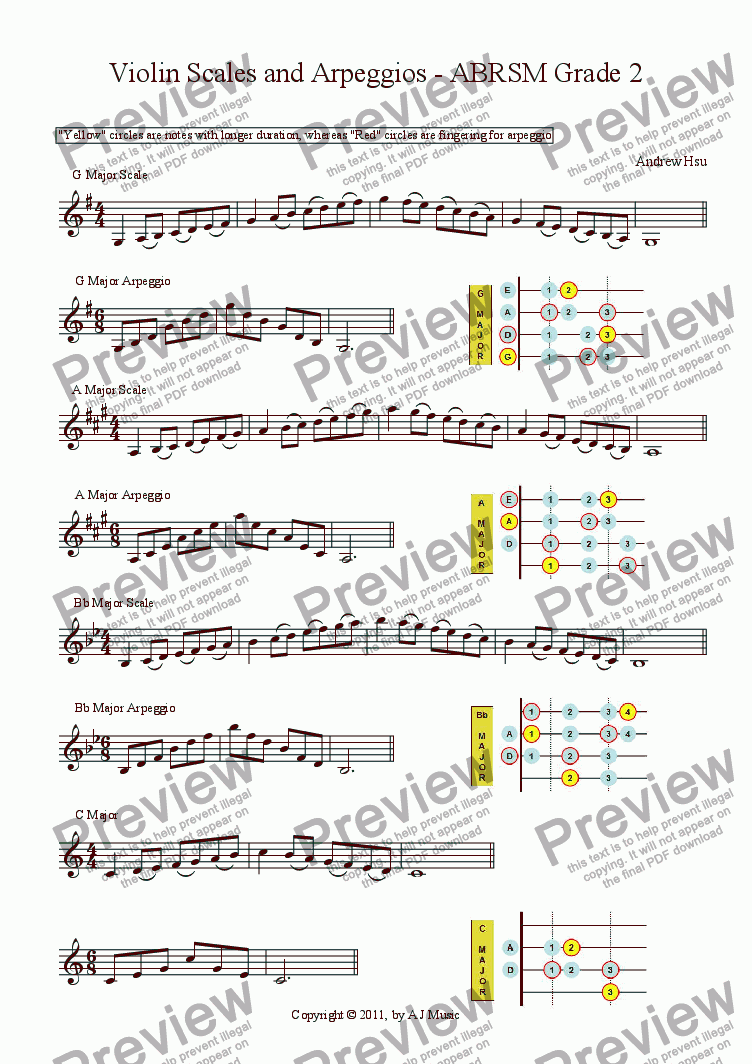 Violin Scales And Arpeggios Grade 2 Download Sheet Music Pdf File