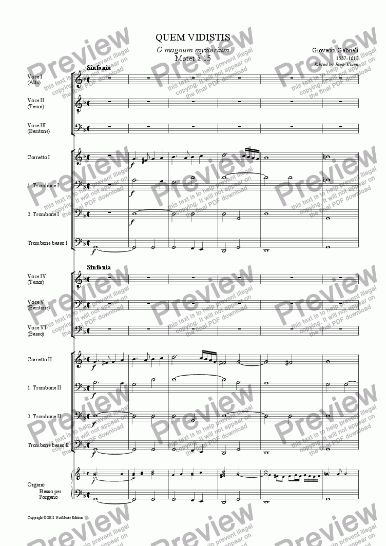 page one of Gabrieli: Quem Vidistis (6 male voices and instruments)