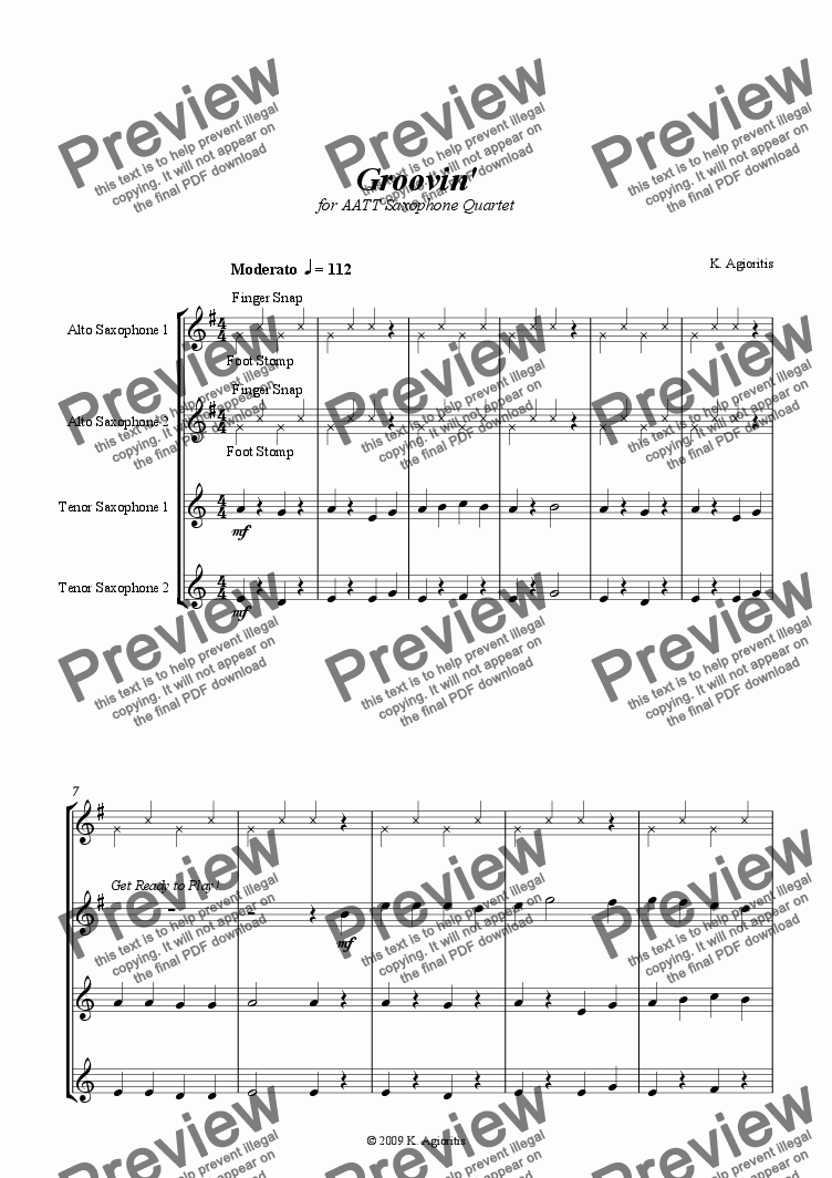 page one of Groovin' - for AATT Saxophone Quartet