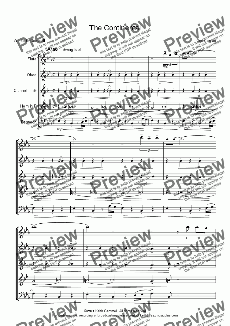 page one of The Continental – Wind Quintet