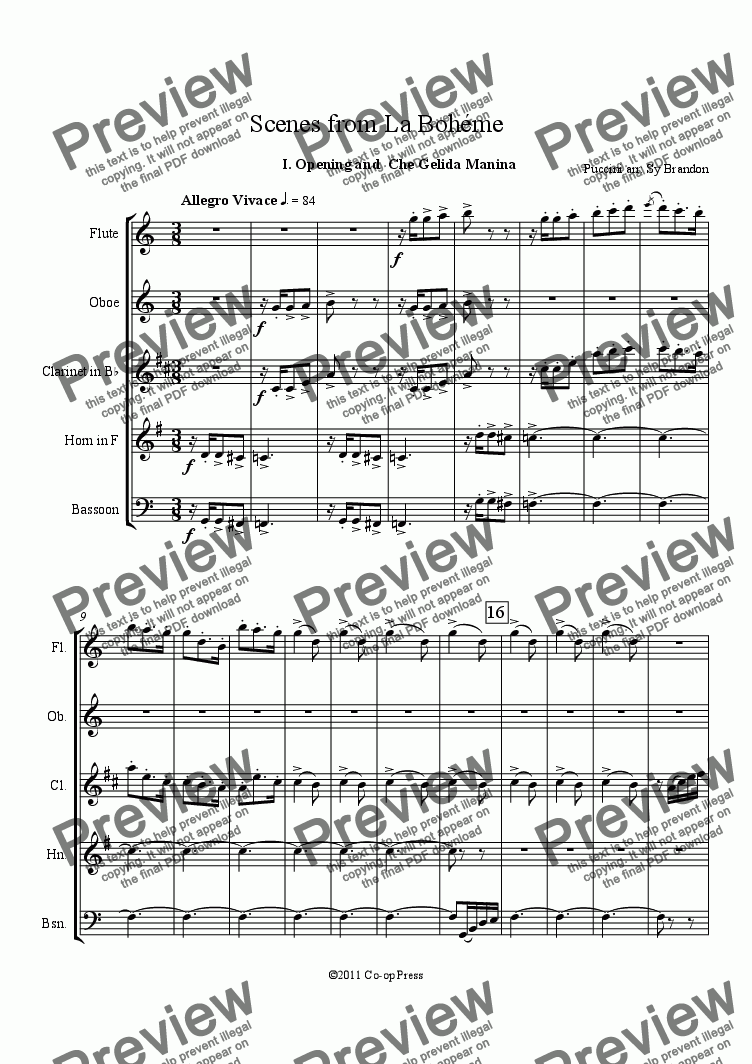 page one of Scenes from La Bohéme for WW Quintet
