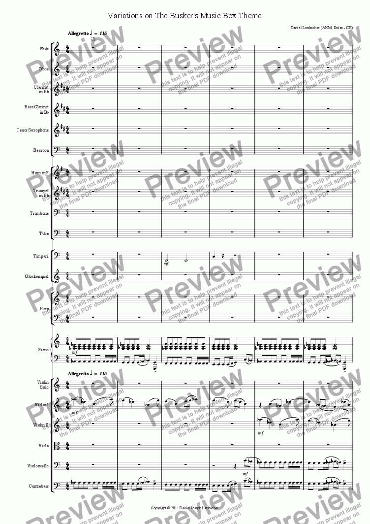 page one of Variations on The Busker's Music Box Theme