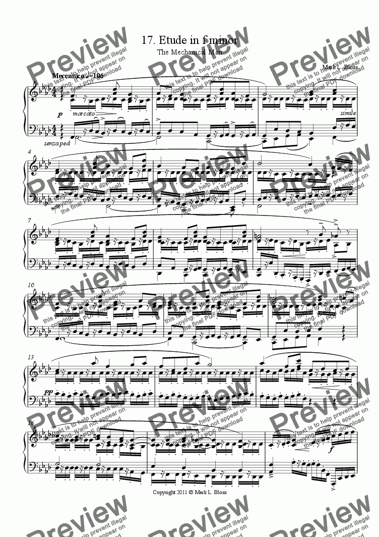 page one of 17. Etude in f minor