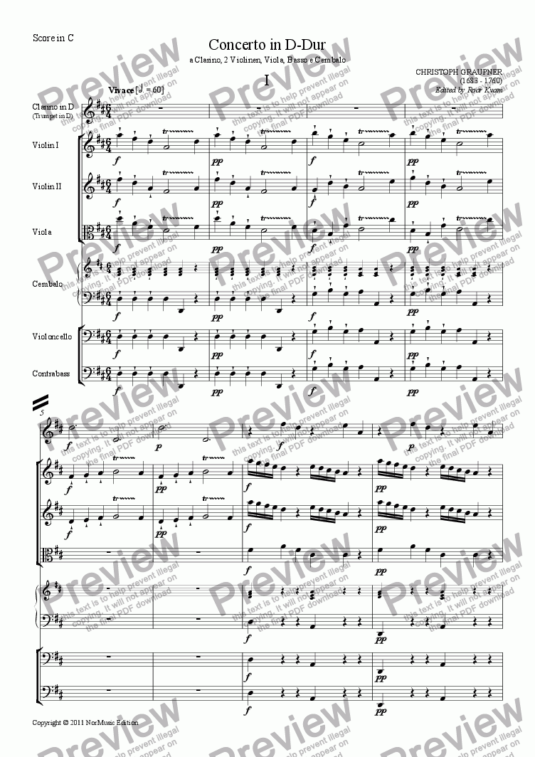 page one of Graupner: Concerto in D-Dur (Tumpet in D Strings and Continuo)ASALTTEXT