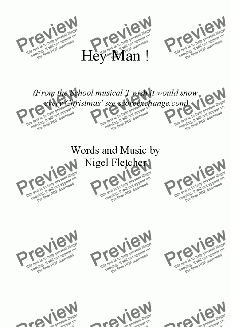page one of Hey Man !