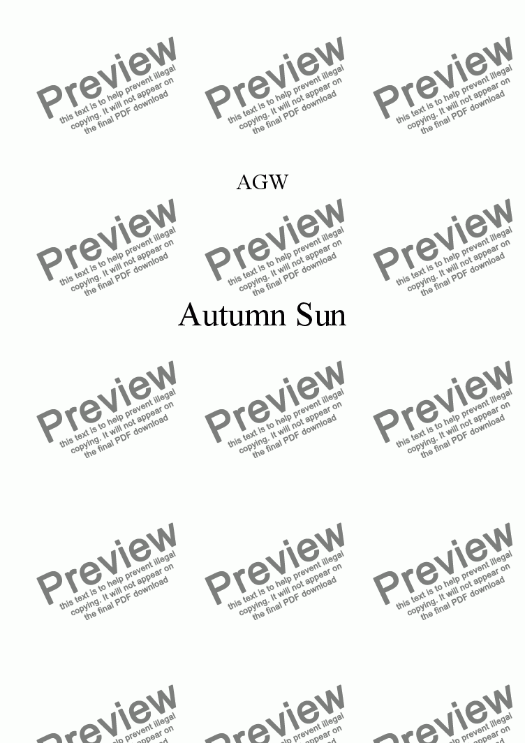 page one of Autumn Sun