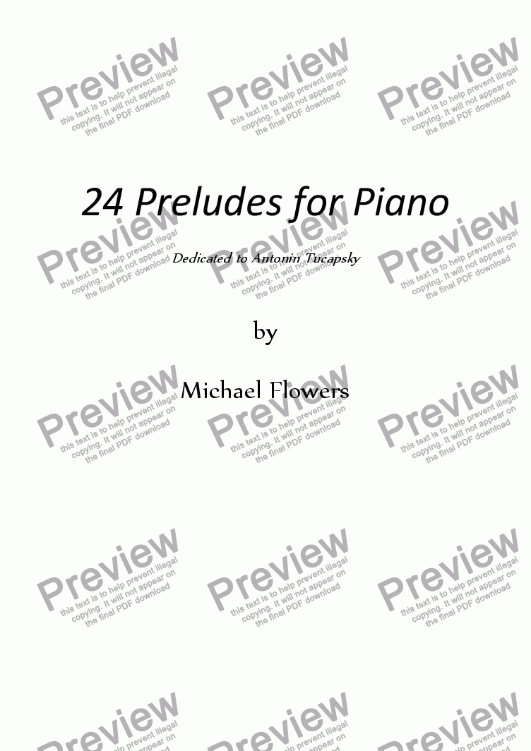 page one of Preludes for Piano ~ Book 1