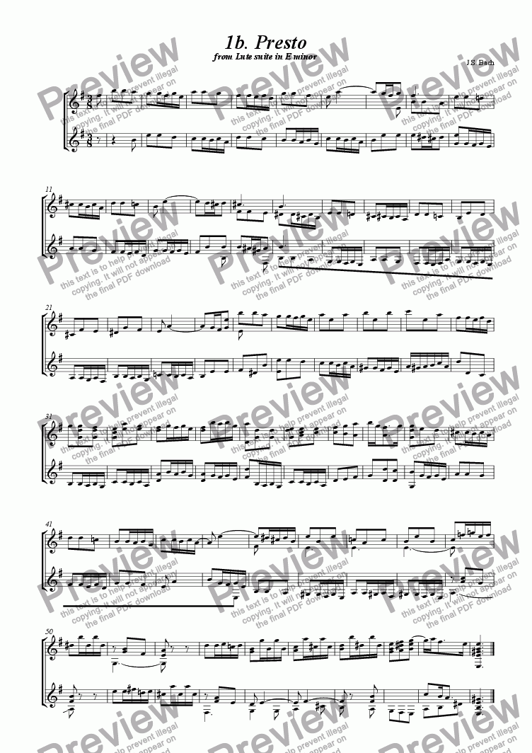 page one of Prelude from Bach's Lute Suite in E minor