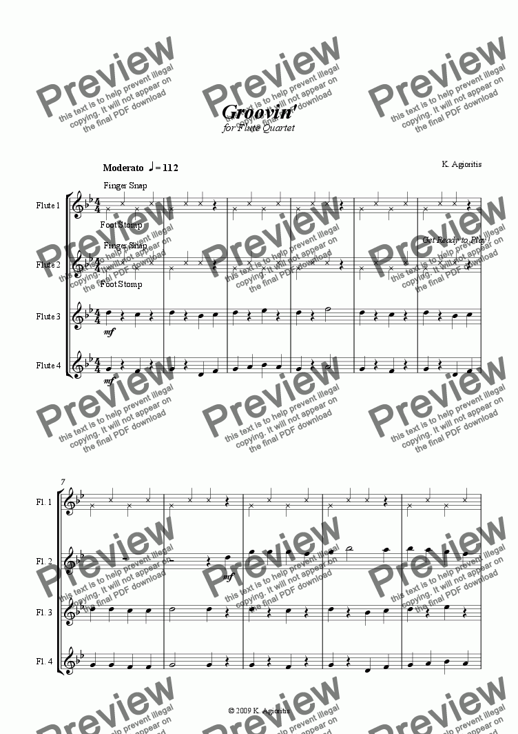 page one of Groovin' - for Flute Quartet