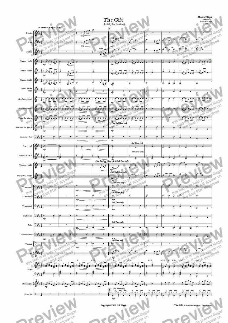 page one of The Gift (Lullaby For Jonathan)-Concert BandASALTTEXT