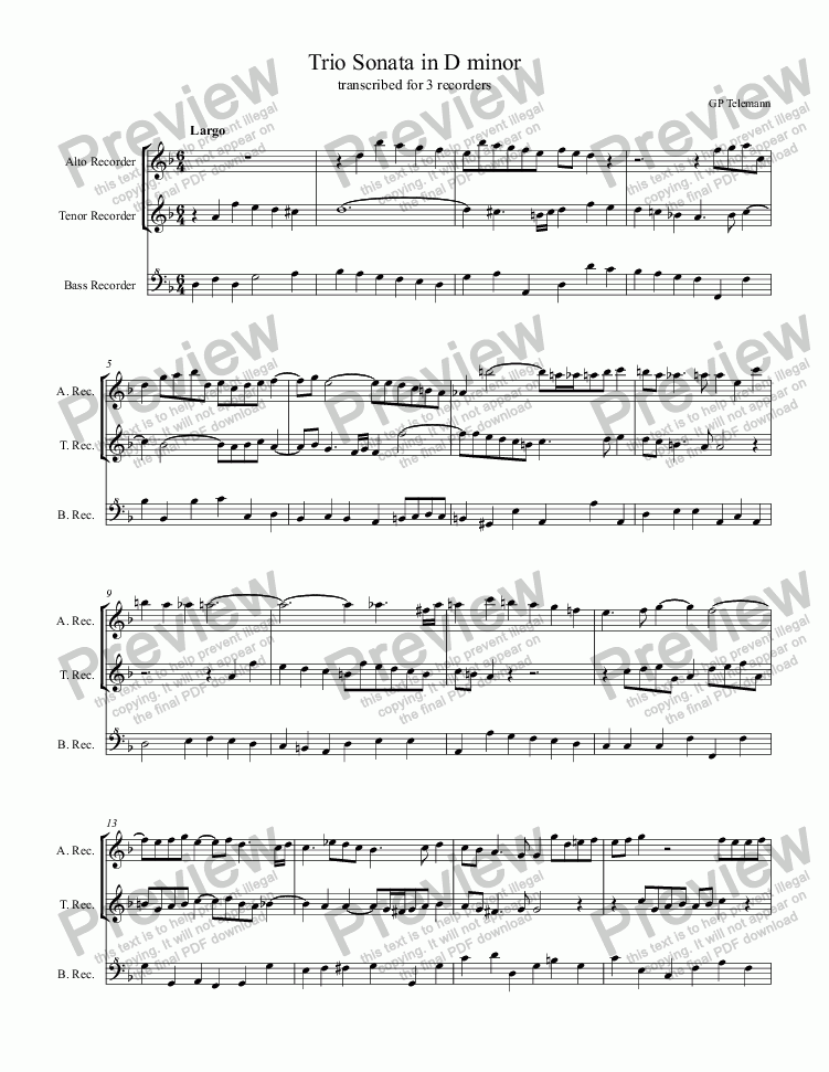 page one of GP Telemann Trio Sonata in D minor for recorders
