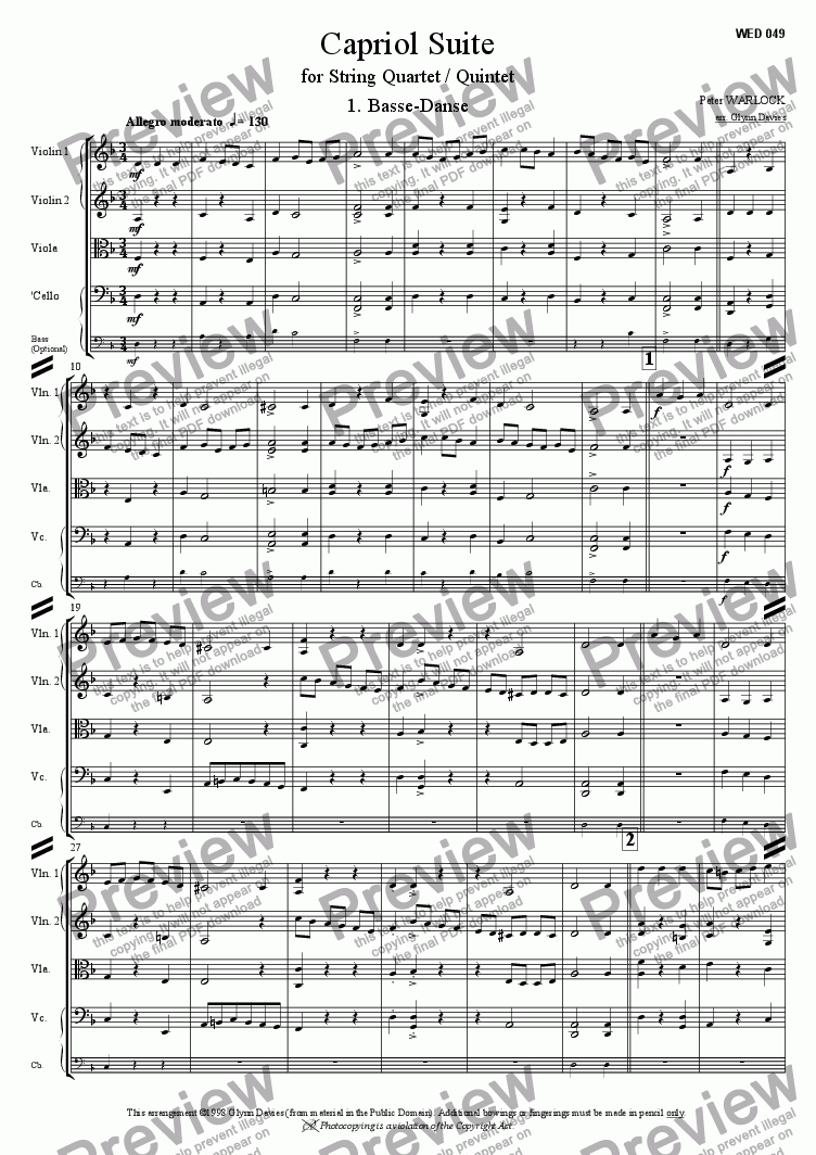 page one of Capriol Suite