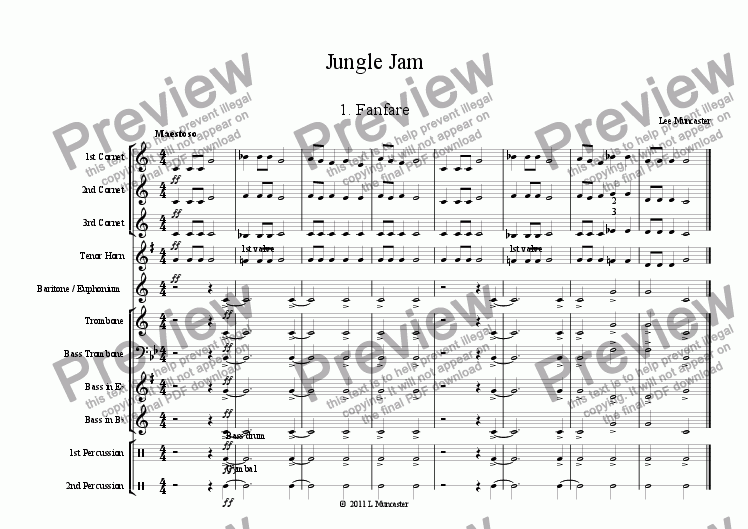 page one of Jungle Jam Suite (6 pieces for Beginner Brass)