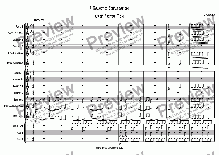 page one of A Galactic Exploration! (4 Pieces for Junior Wind Band)