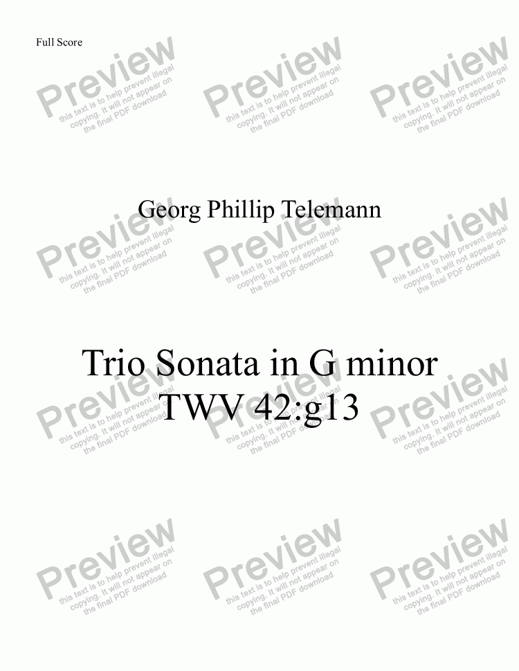 page one of GP Telemann Trio Sonata in G minor for Recorder Trio