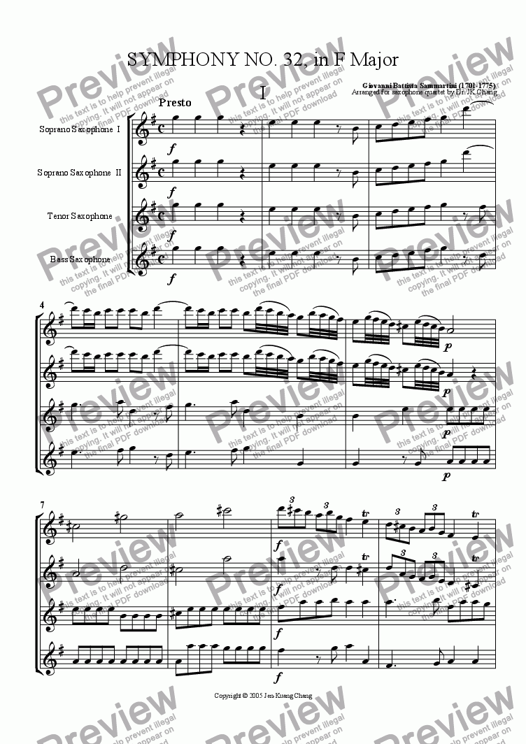 page one of Symphony No. 32 in F Major