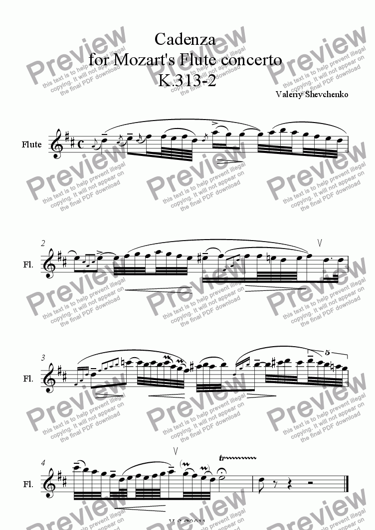 page one of Cadenza  for Mozart's Flute concerto  K.313-2