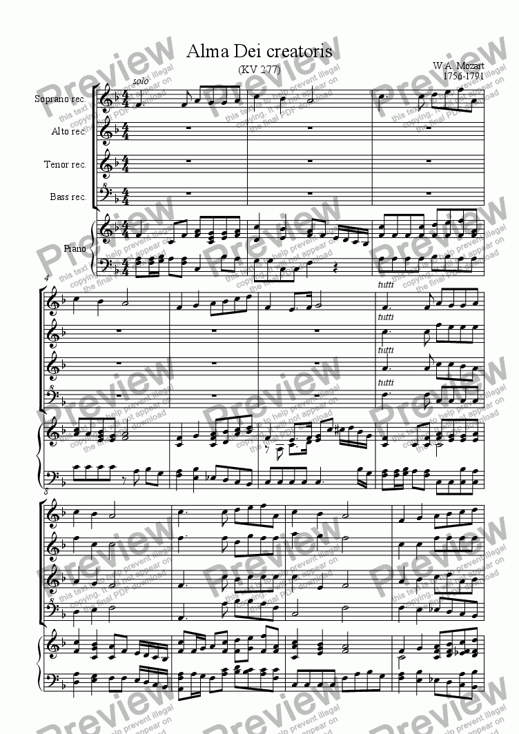 page one of Alma Dei creatoris (Mozart)ASALTTEXT
