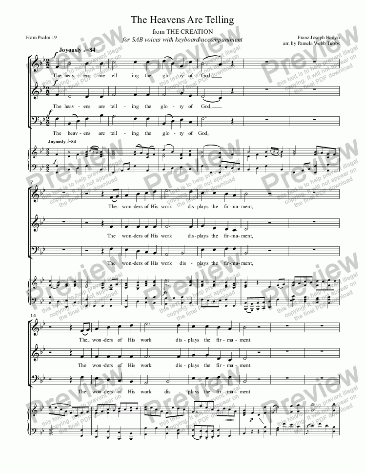 page one of The Heavens Are Telling (HAYDN) from The Creation (from Psalm 19) for 3-part SAB voices with piano accompaniment arr. by Pamela Webb Tubbs
