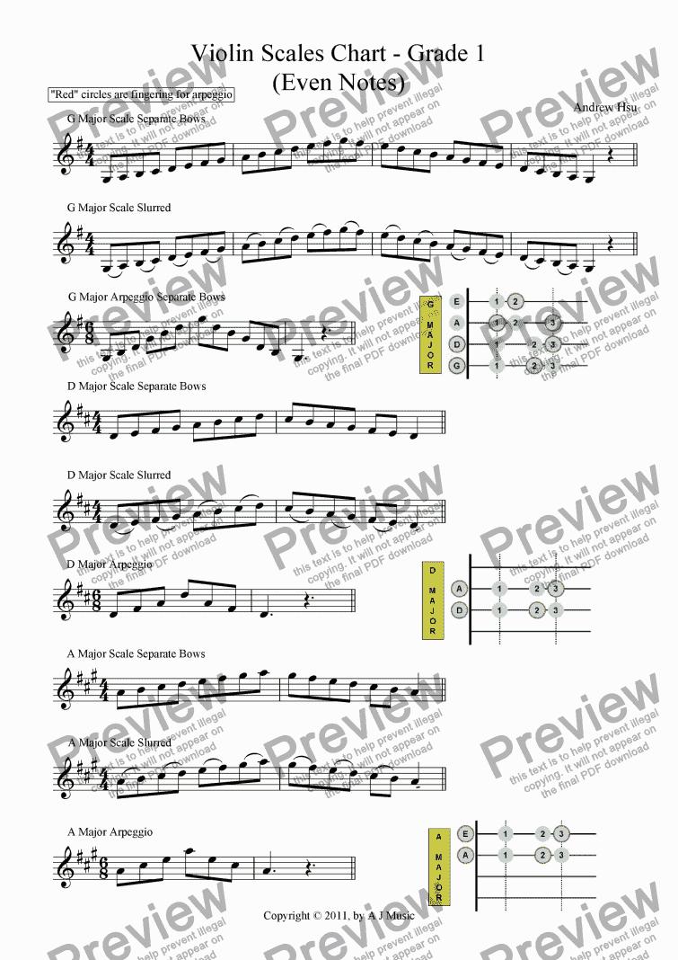 Page One Of Violin Scales Chart Grade 1 En